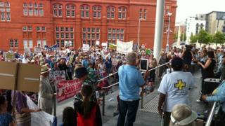 Protest at Senedd
