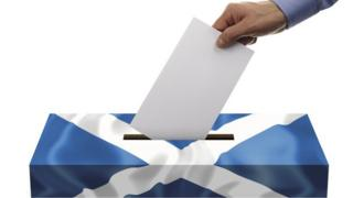 Ballot box with saltire