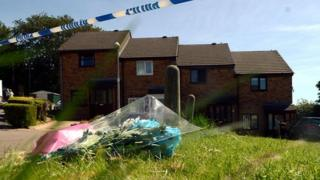 floral tributes at Bryn Gorwel