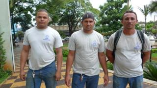 Workers Rafael Rocha Gomes, Jose Edval da Silva and Evaldo Barbosa Araujo (from left to right)