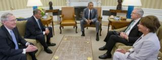 President Barack Obama meets (from left) Senate Minority Leader Mitch McConnell, House Speaker John Boehner, Senate Majority Leader Harry Reid and House Minority Leader Nancy Pelosi in the Oval Office of the White House
