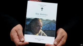 Order of service at Rik Mayall's funeral