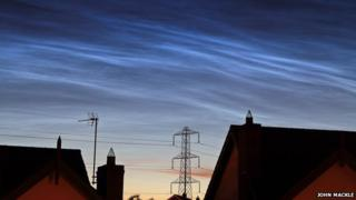 Night clouds or noctilucent clouds are the highest clouds in Earth's atmosphere but can only be seen at mid-summer in Northern Ireland