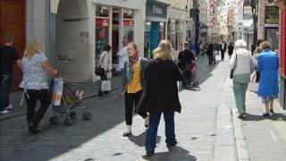 Pedestrians in St Peter Port High Street