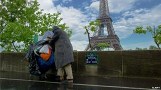 Down and out in Paris, by the Eiffel Tower