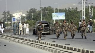 Afghan security forces at the scene of the attack in Kabul. Photo: 21 June 2014