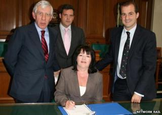 MP Jack Straw, Nick Spall from Network Rail, council leader Kate Hollern, and MP Jake Berry