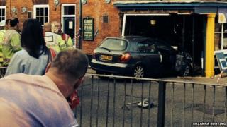 Car embedded in Golden Star pub in Norwich