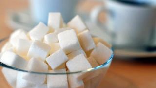Sugar cubes in a bowl