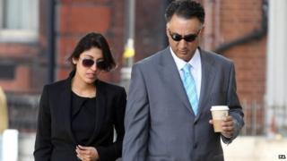 Aisha Ali-Khan and Mohammed Afiz Khan arriving at Westminster Magistrates Court at an earlier hearing