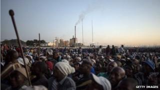 Striking platinum workers gathering