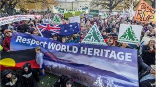 This handout picture taken and released on 14 June 2014 by Rob Blakers of The Wilderness Society shows some 5,000 Tasmanians at the rally to oppose the delisting of Tasmania's World Heritage forests in Hobart, Tasmania.