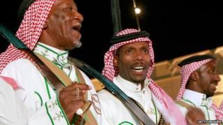 Men at a wedding in Saudi Arabia