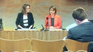 Kirsty Williams and Leanne Wood at a press conference on Tuesday