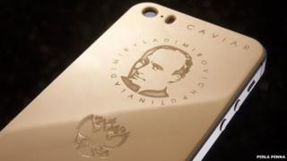 iPhone with a picture of Putin on it