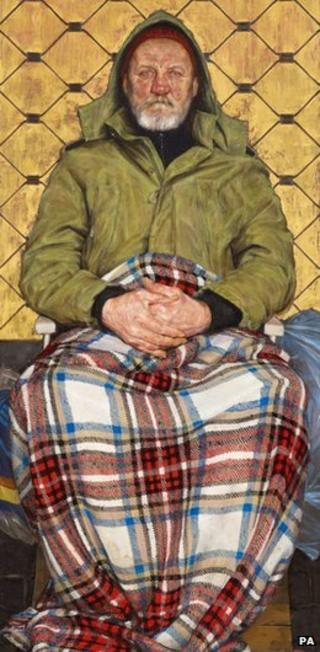 Thomas Ganter's painting Man With A Plaid Blanket