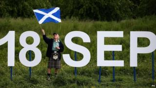 Scottish flag and 18 September sign