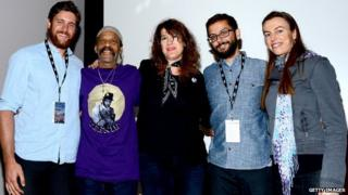 Teenie Hodges (second from left) with film-makers at the Santa Barbara Film Festival