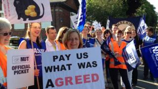 Teachers on strike at New College in Telford