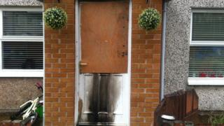 Flammable liquid was poured through the letter box of the house on Tuesday night
