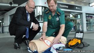 Defibrillator at bus station