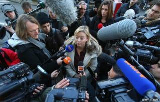 Schumacher family spokeswoman Sabine Kehm outside Grenoble hospital in January