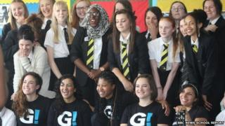 Theatre group Girls Be Heard with students