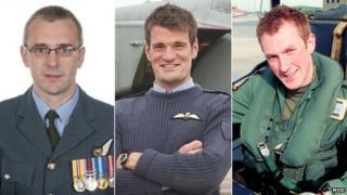 Airmen (from left) Sqd Ldr Samuel Bailey, Flt Lt Hywel Poole and Flt Lt Adam Sanders