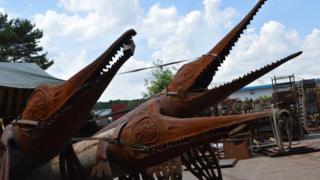 Metal Ichthyosaur heads