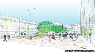 Artist's impression of permanent site for Ingleby Manor Free School