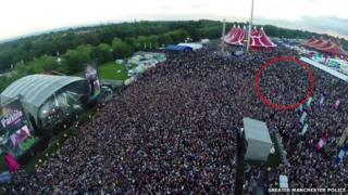 Aerial photograph of the Parklife Festival, with the area of the assault circled.