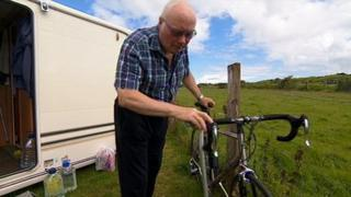 Douglas Elliot with bicycle