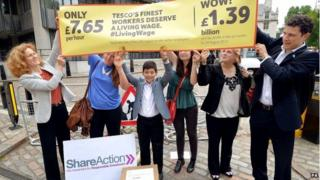 Demonstrators outside Tesco AGM