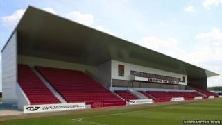 Artist impression of East Stand at Northampton Town's Sixfields Stadium