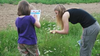 Children taking part in a farmland pollinator survey (Image: CEH)