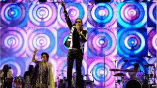 Arcade Fire on stage at Glastonbury