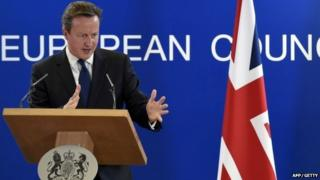 David Cameron at news conference in Brussels