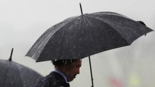 Generic man with umbrella
