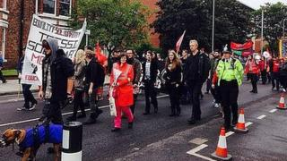 Anti-fascist protesters in Middlesbrough