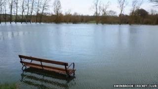 Swinbrook Cricket Club under water