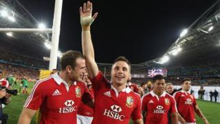 Tommy Bowe leads the celebrations as the British and Irish Lions win an international test match between the Australian Wallabies