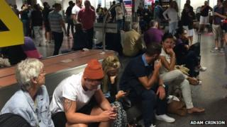 Passengers waiting at Gatwick