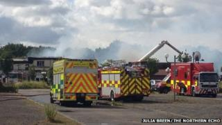 Fire at former Tall Trees Hotel, Yarm