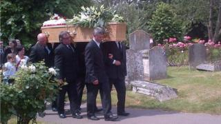 Pallbearers at James Attfield's funeral