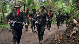 File photo from 27 February, 2000, showing members of the National Liberation Army (ELN) in Sarare, Colombia