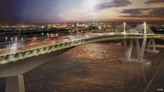 An artist's impression of the Bridge East London designed by Arup and HOK architects