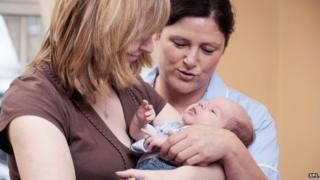 Mum, baby and midwife
