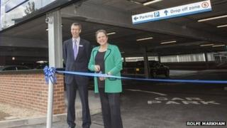 Chiltern Railways managing director Rob Brighouse and transport minister Baroness Kramer opening the car park