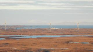 Wind turbines on South Uist