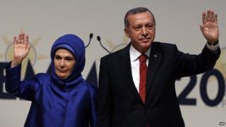 Turkish PM Recep Tayyip Erdogan and his wife Emine Erdogan salute his ruling party members in Ankara, Turkey, 1 July 2014